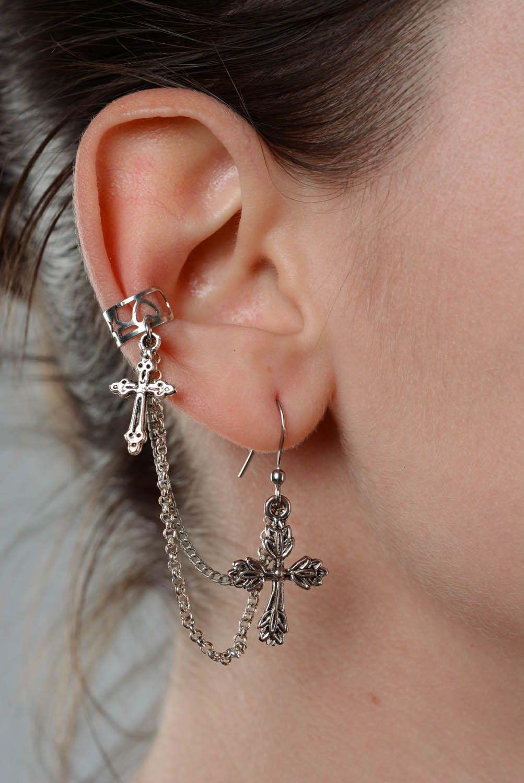 Cuff earrings Lace Cross photo 3