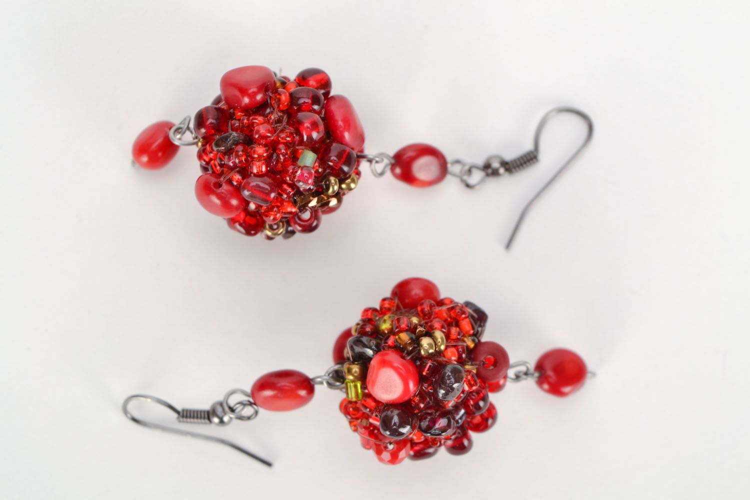 Earrings with coral and amber photo 2
