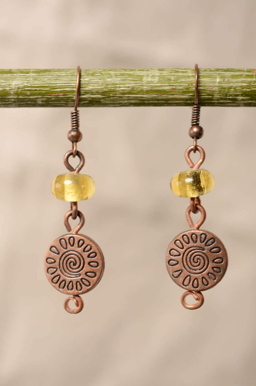 Copper earrings with lampwork beads photo 3