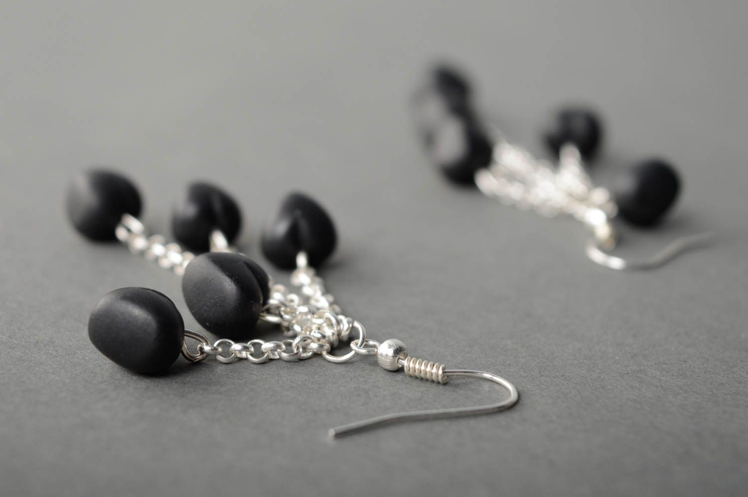 Polymer clay earrings with charms Black Heart photo 5