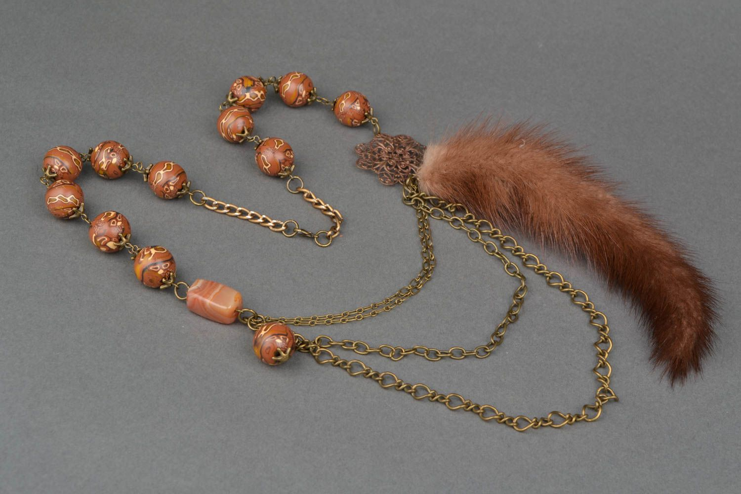 Bead necklace with natural stone and mink fur photo 4