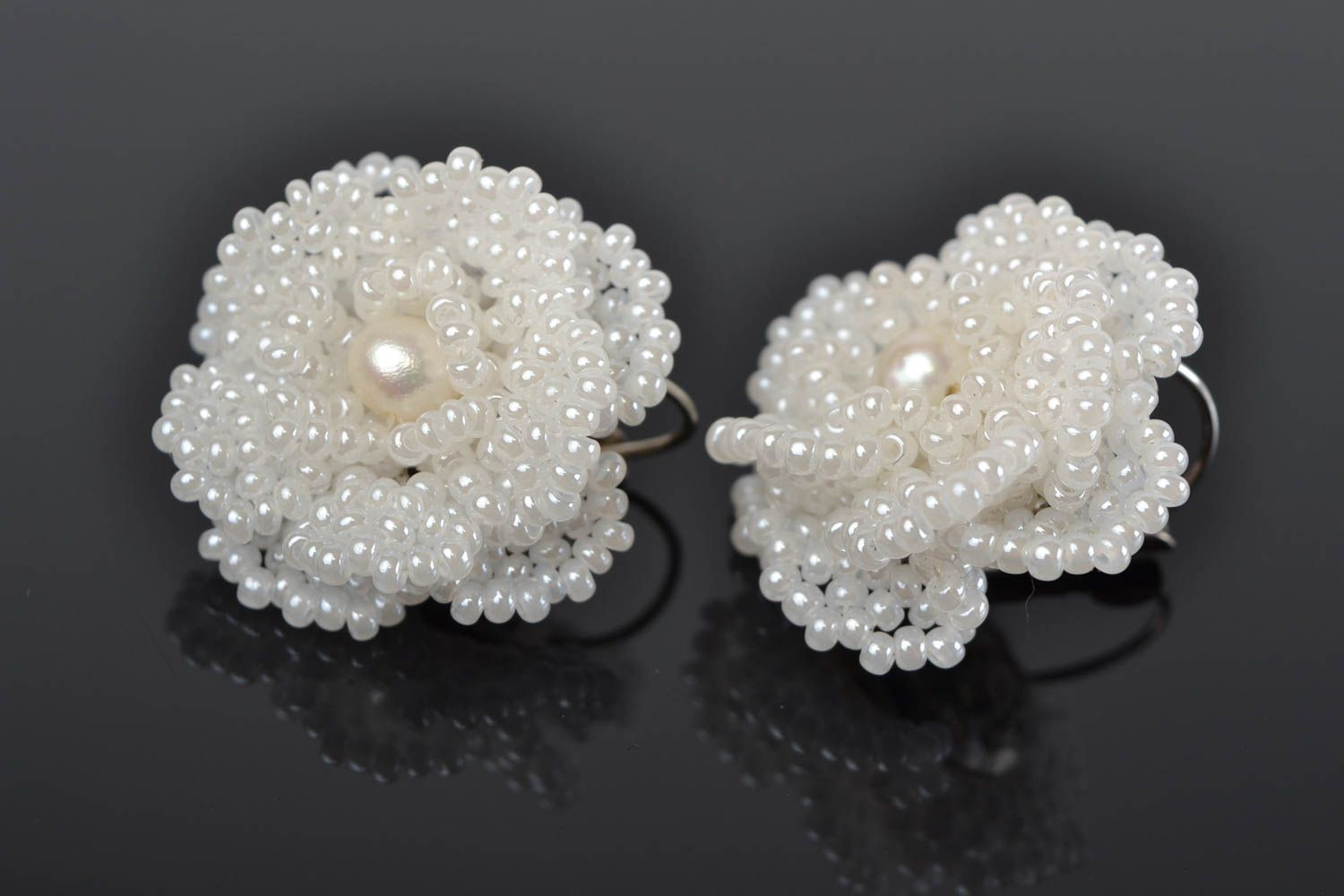 Madeheart Beautiful Handmade Large White Flower Earrings Woven Of