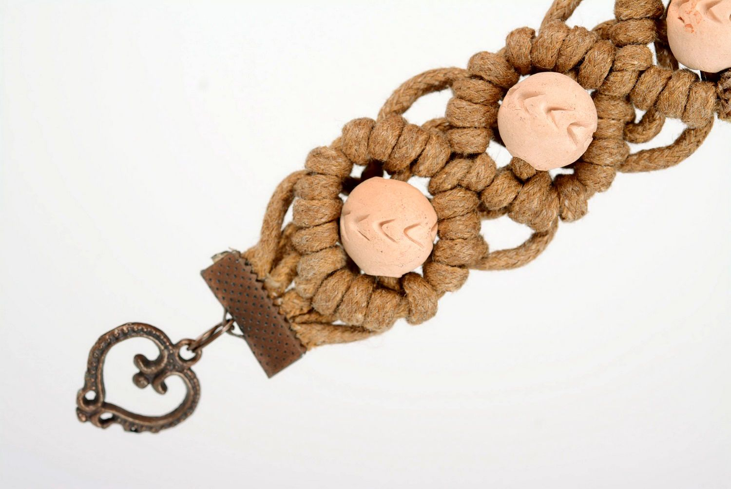 clay bracelets Braided bracelet, ceramics, cotton thread - MADEheart.com