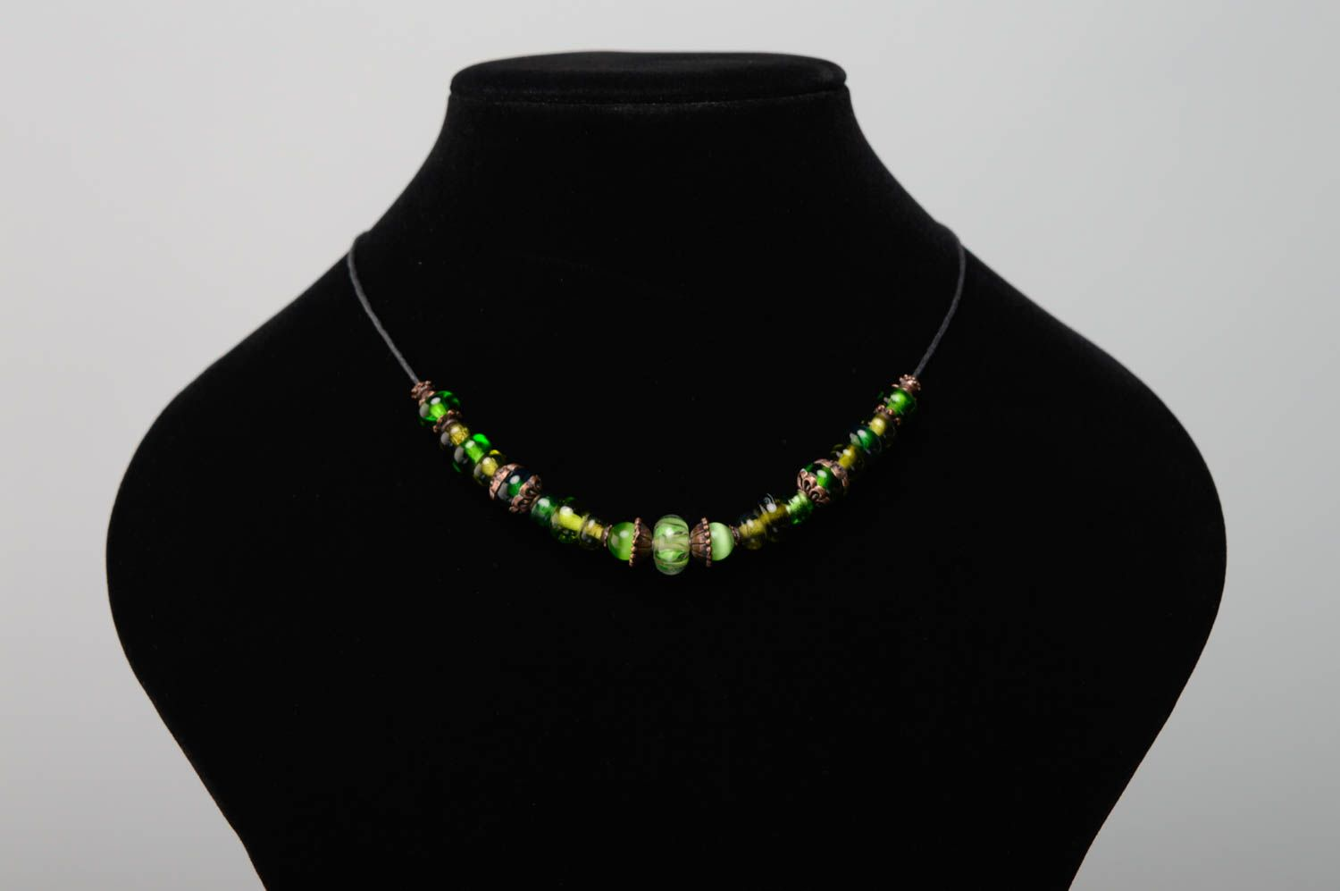 Lampwork bead necklace of green color photo 3