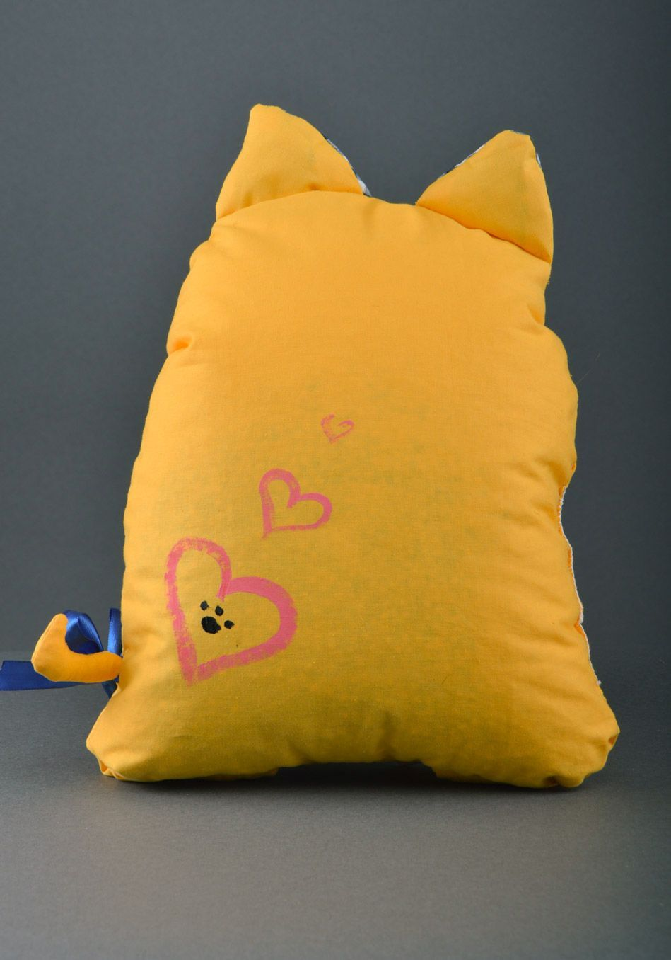 Large handmade aroma sachet pillow yellow toy cat with herbs inside photo 2