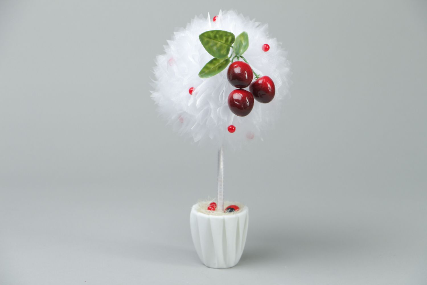 Organza topiary with cherry photo 1