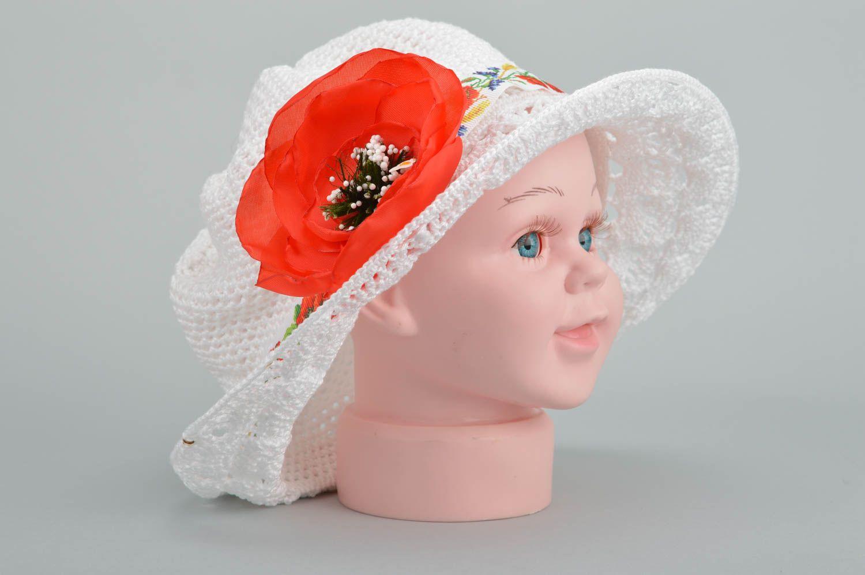 Designer unique girl crocheted hat handmade cotton headdress present for kids photo 2