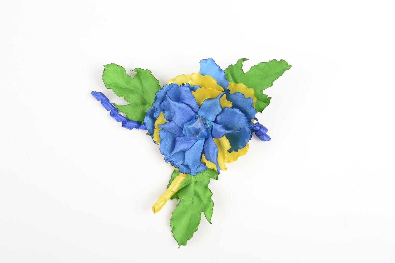 Handmade children scrunchy flower satin ribbon accessory for girls gift idea photo 3