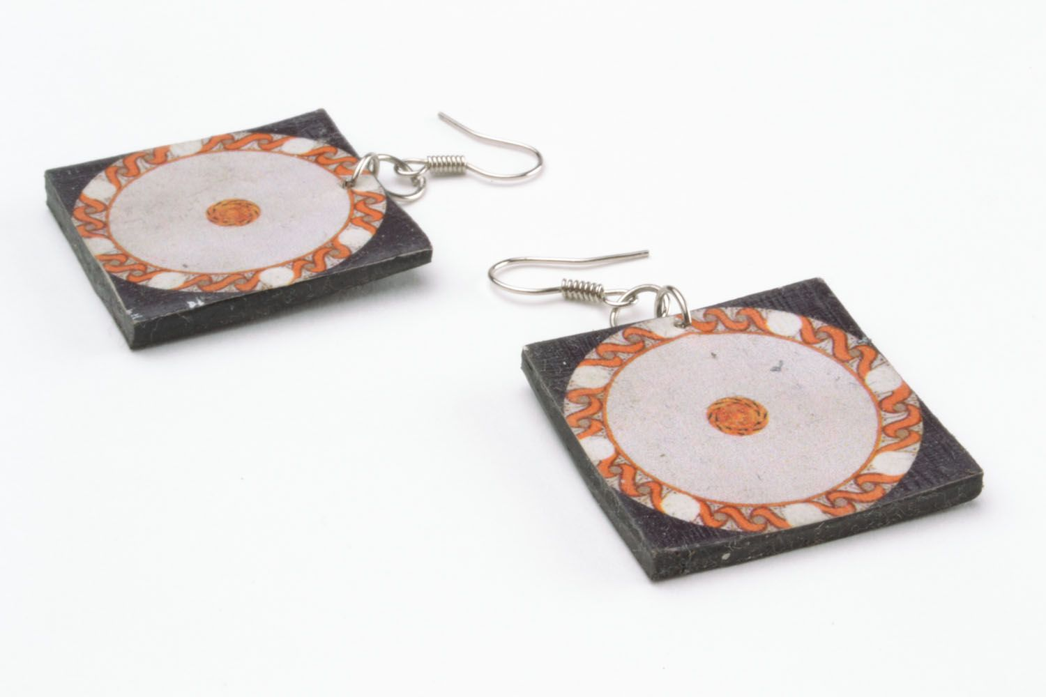 Square polymer clay earrings  photo 5
