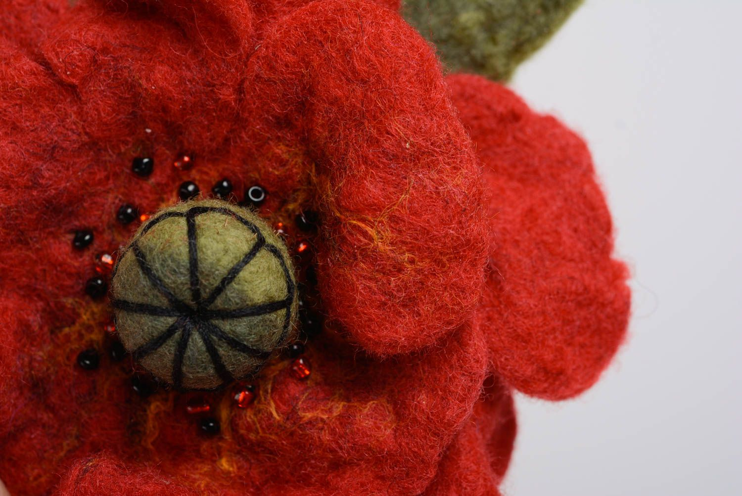 Handmade flower brooch wool felting technique large beautiful accessory photo 2