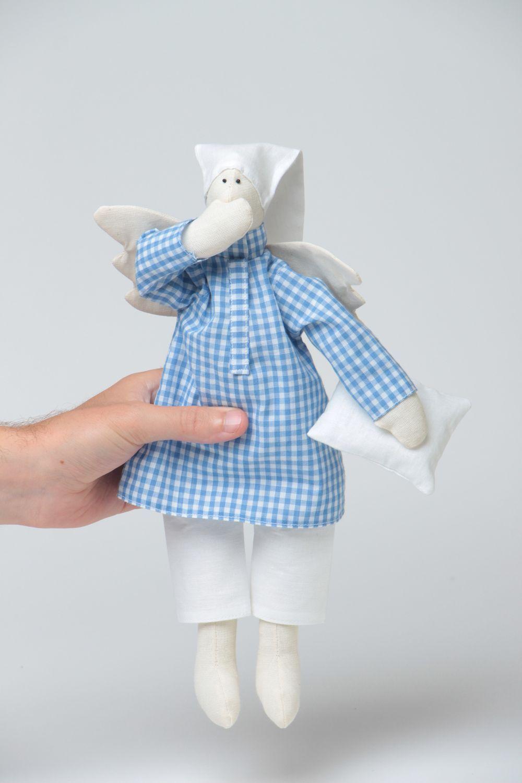 Handmade designer fabric soft doll sleepy angel in blue checkered night shirt photo 5