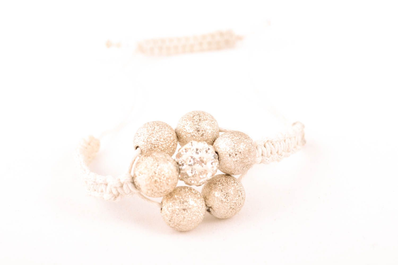 Handmade bracelet with ceramic beads and cord photo 1