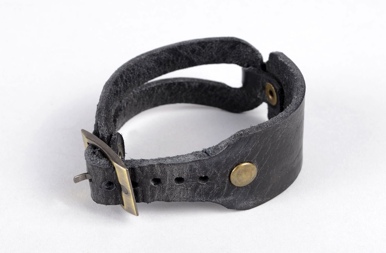 Damen Lederarmband handmade exklusiver Schmuck Armband schwarz, stilvoll  foto 2