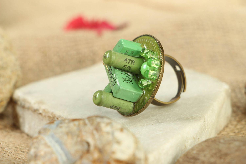 Green metal ring in cyberpunk style photo 5