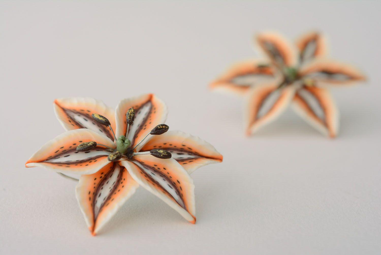 Handmade floral earrings photo 1