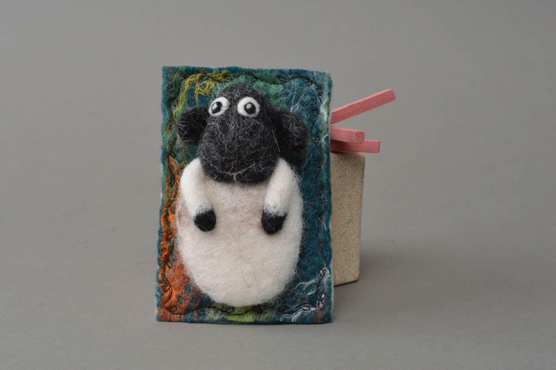 Handmade funny small decorative fridge magnet felted of natural wool lamb photo 1