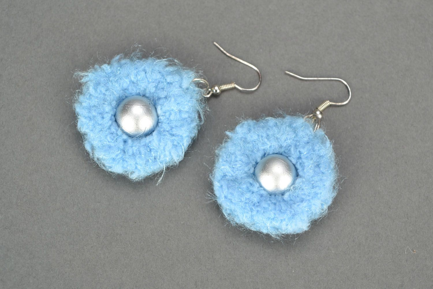 Round crocheted earrings photo 3