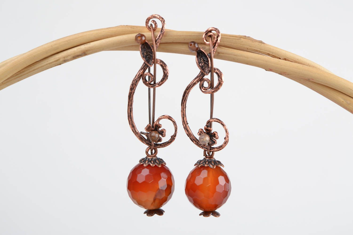 Stylish designer handmade fancy metal earrings with natural brown agate stone photo 1