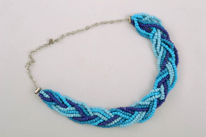 Blue beaded necklace photo 1