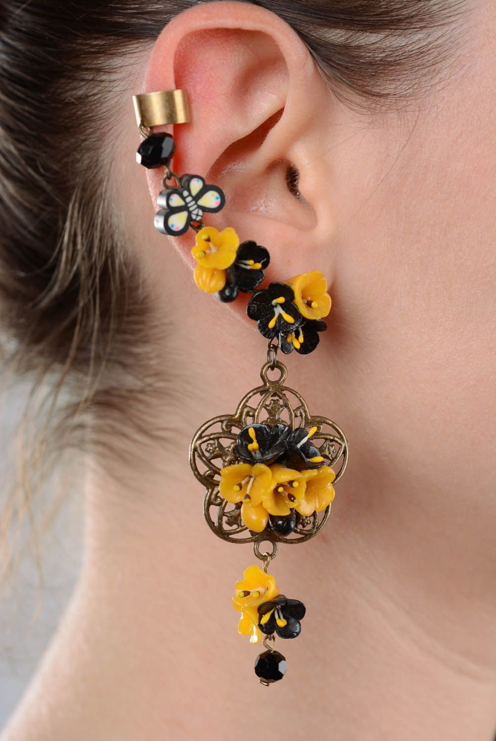 Cuff earring with charms Openwork photo 3
