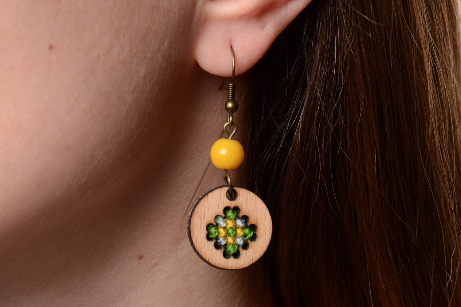 Handmade plywood jewellery round earrings and pendant with embroidery in ethnic style photo 5