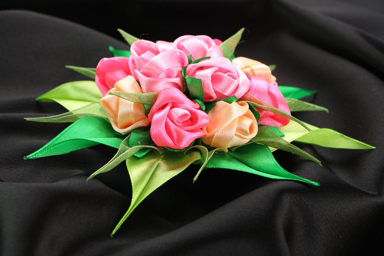 Satin ribbon hair clip Bouquet of Roses photo 2