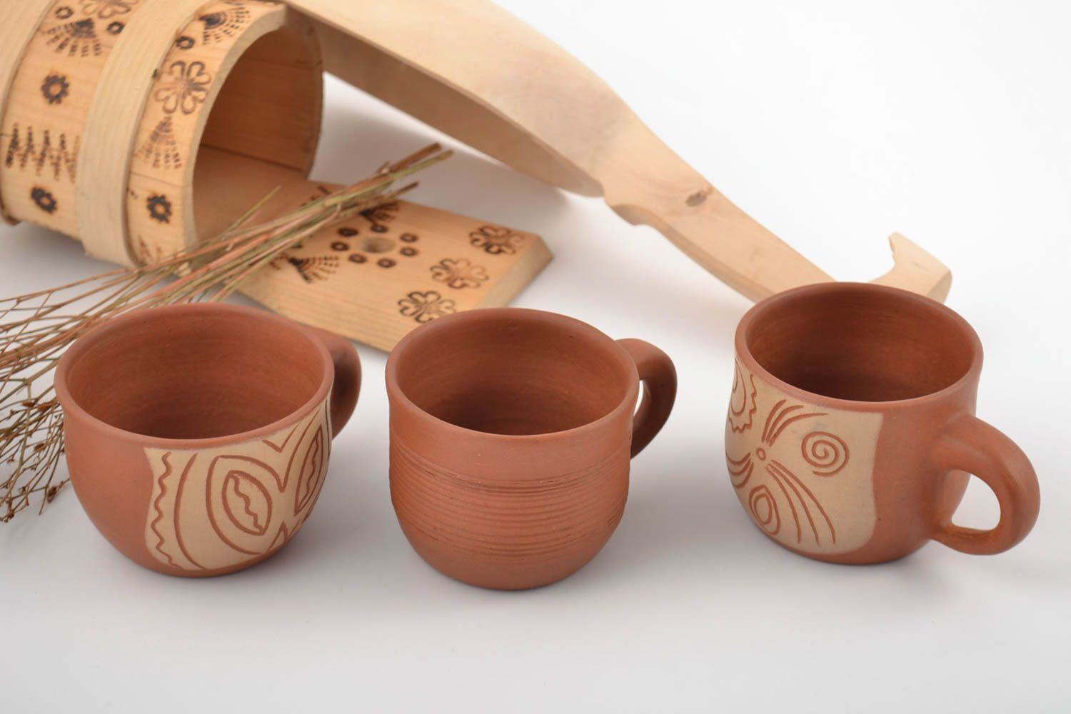 Set of handmade clay cups painted with mineral engobes 3 pieces home decor photo 1