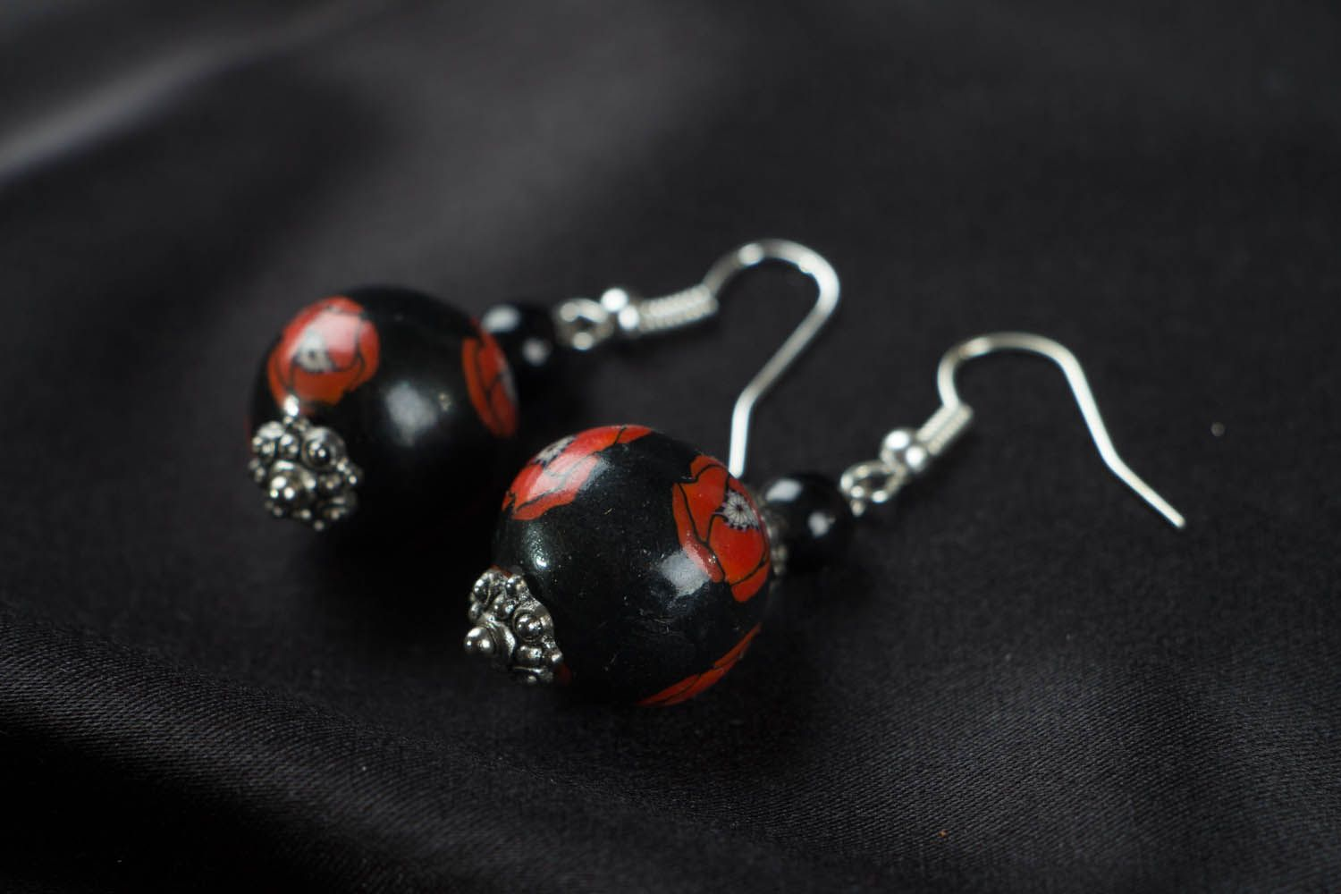 Round polymer clay earrings Poppies photo 2