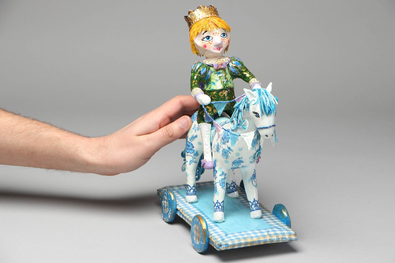 Paper mache figurine Prince on White Horse photo 4