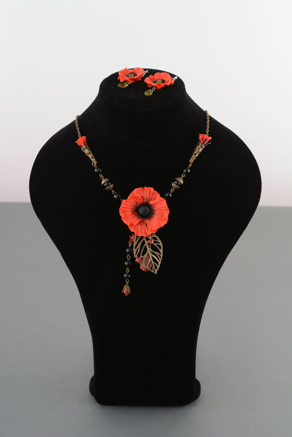 Polymer clay jewelry set Poppies photo 1