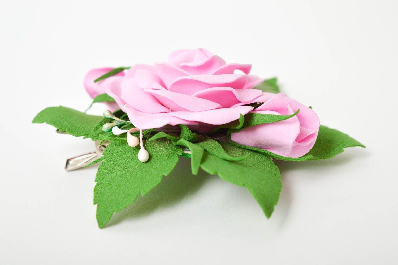 Handmade barrette foamiran hair clip flower hair accessories gift for girl photo 7