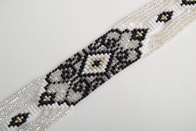 Black and white handmade beaded gerdan necklace photo 4
