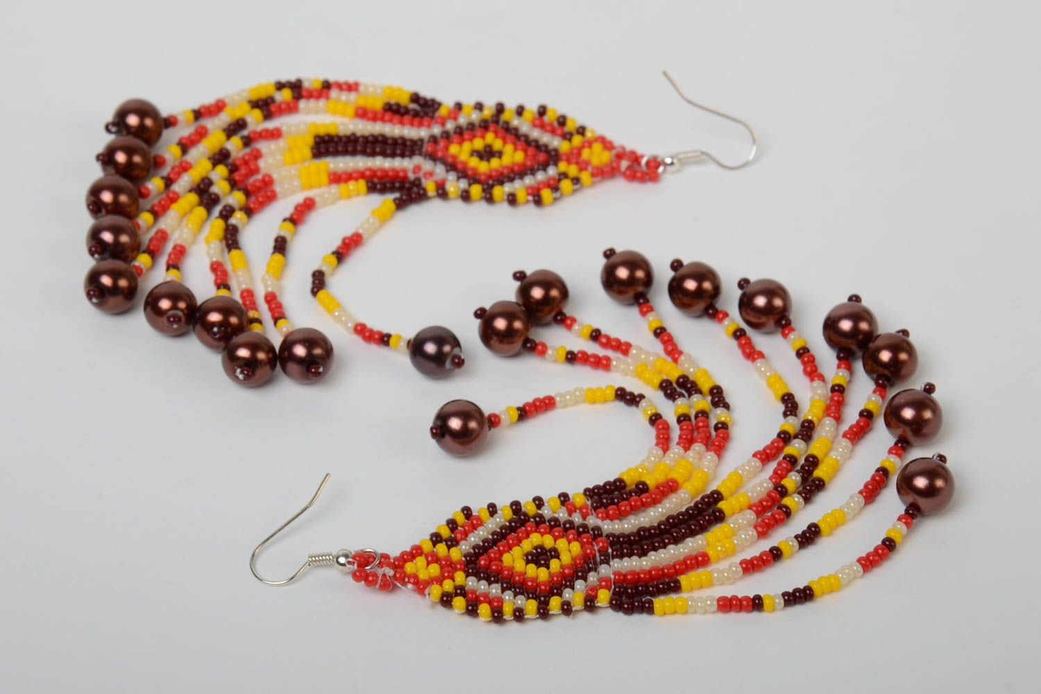 Handmade massive designer long earrings with beaded fringe in ethnic style with hook type ear wires photo 4