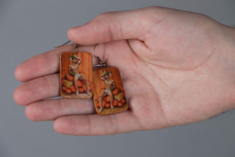 Polymer clay earrings Pumpkin Carver photo 5