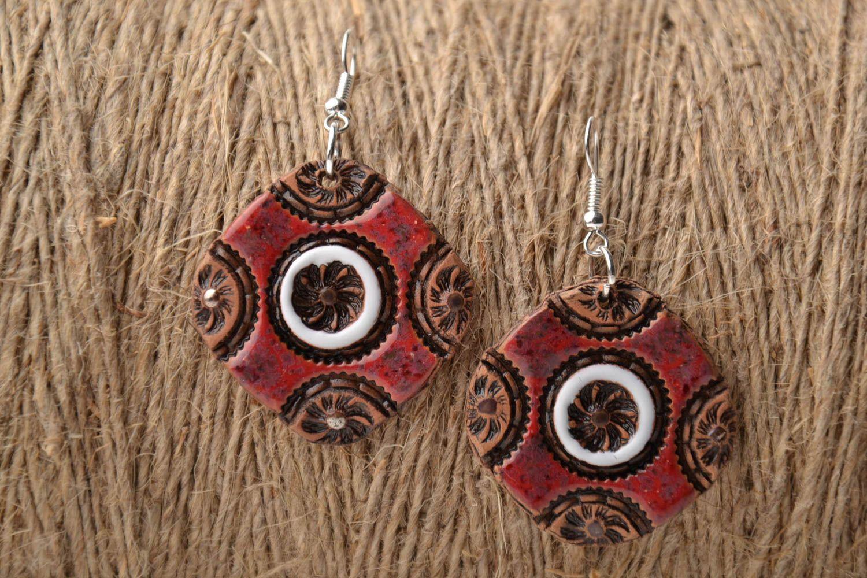 Handmade ceramic earrings photo 1