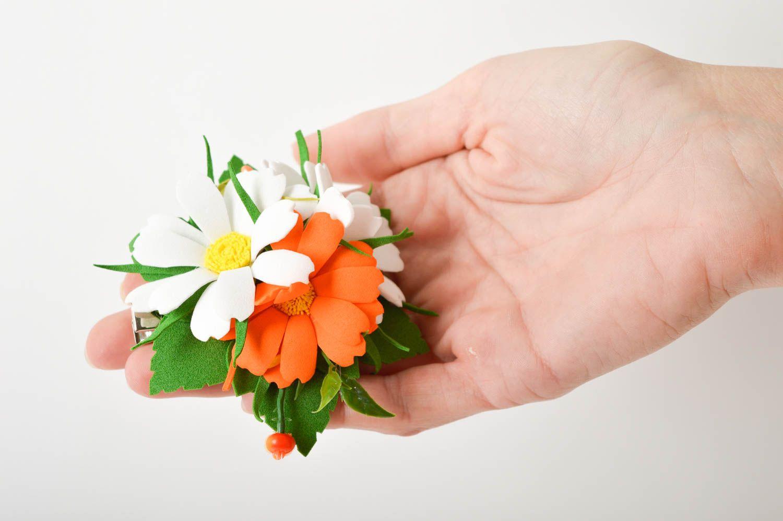 Handmade barrette foamiran hair clip flower hair accessories gift for women photo 2