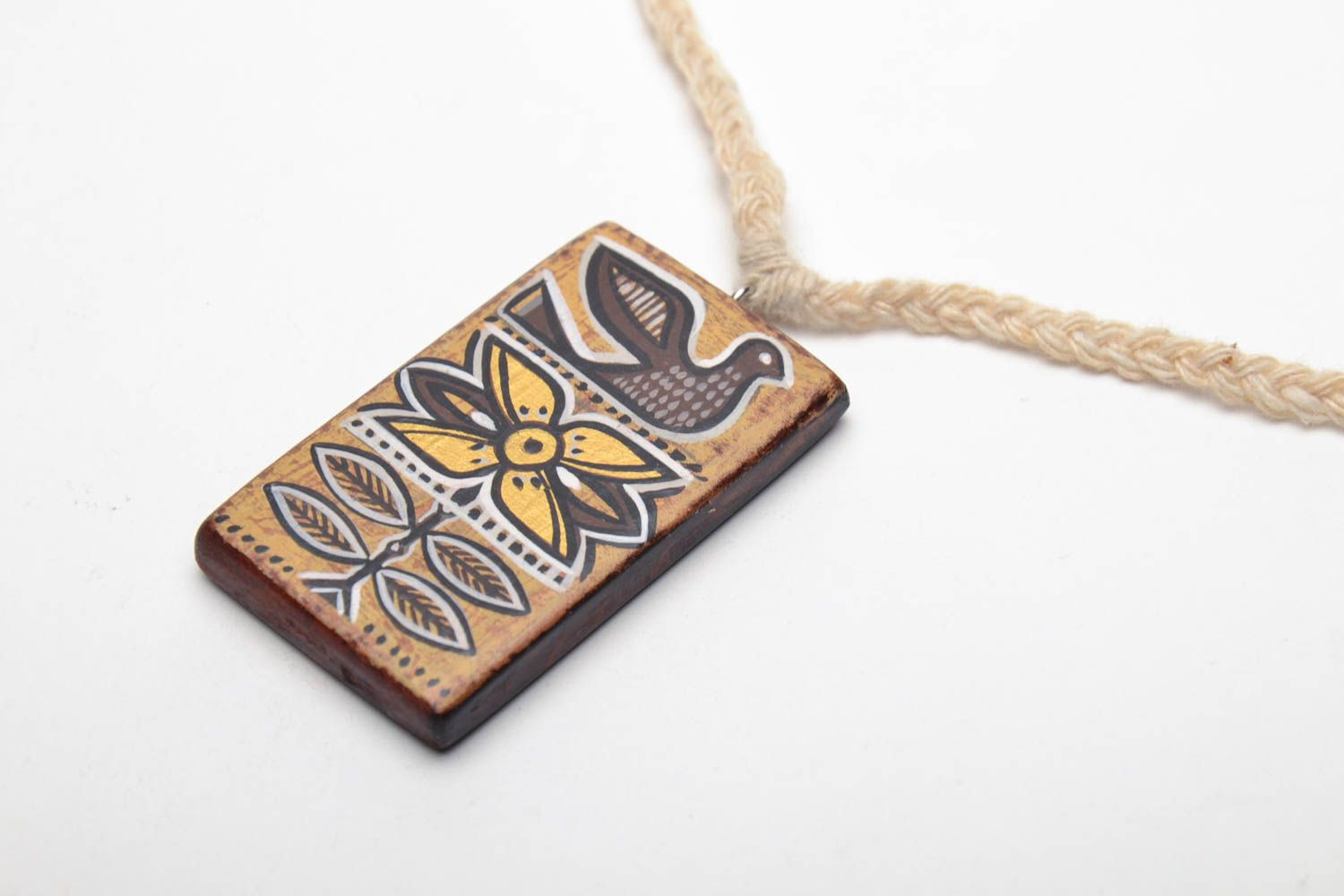 Wooden pendant Ethnic photo 3