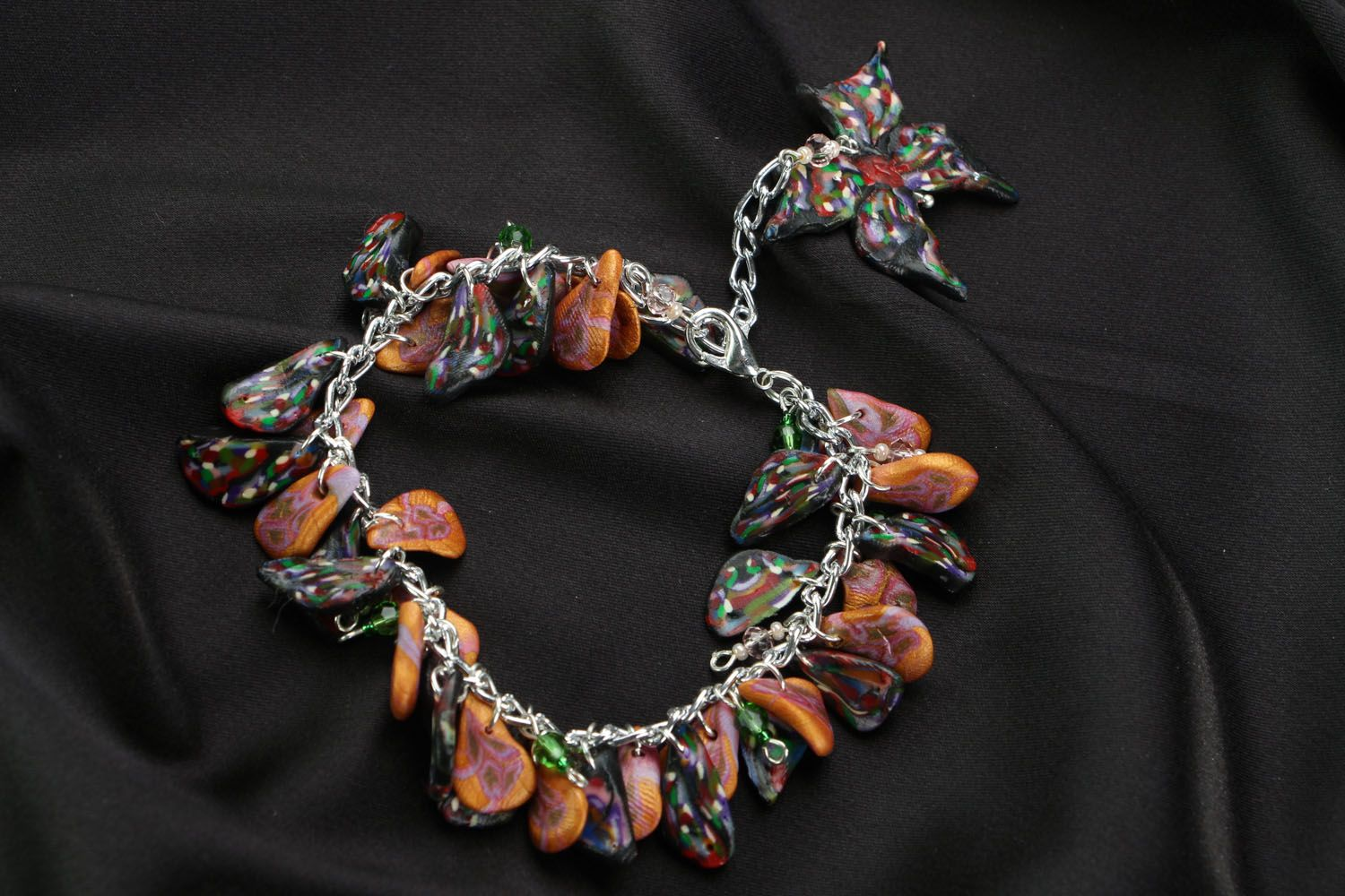 Bracelet with polymer clay charms photo 2