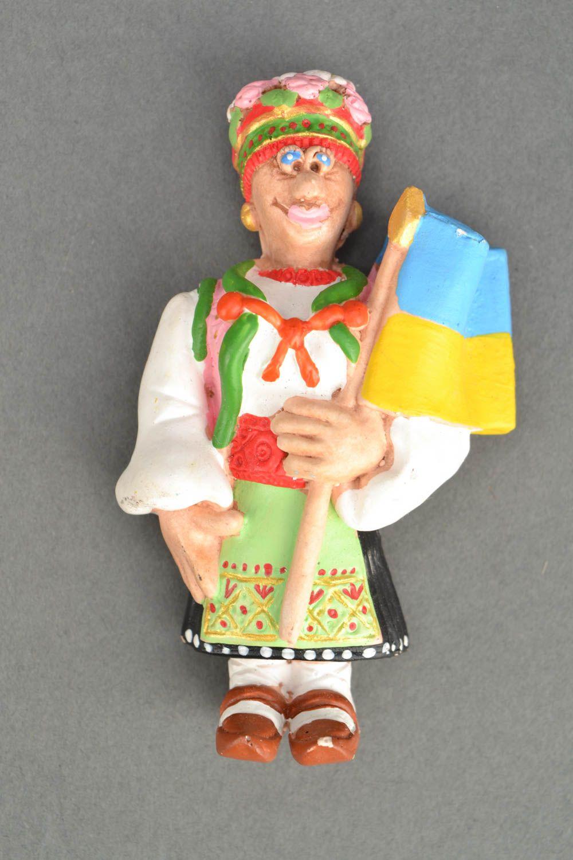Homemade fridge magnet West Ukrainian Woman with the Flag of Ukraine photo 5