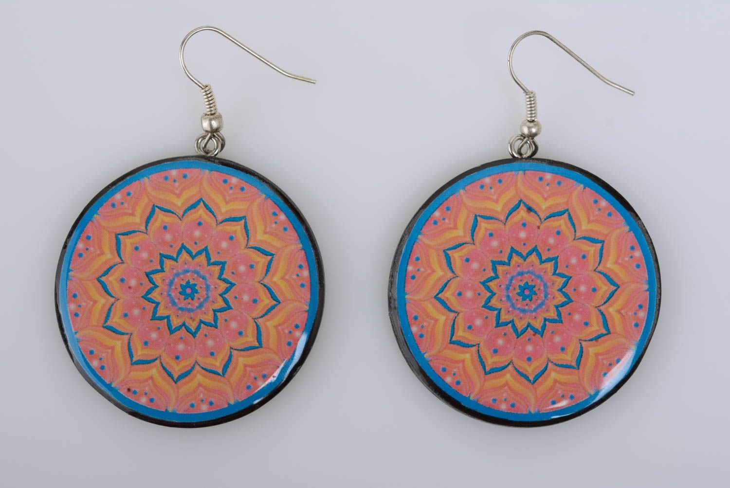 Patterned handmade designer plastic round earrings with decoupage photo 5