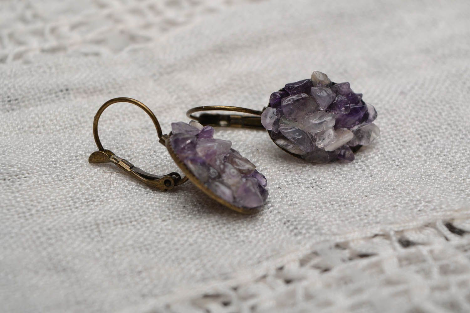 Oval amethyst earrings  photo 1
