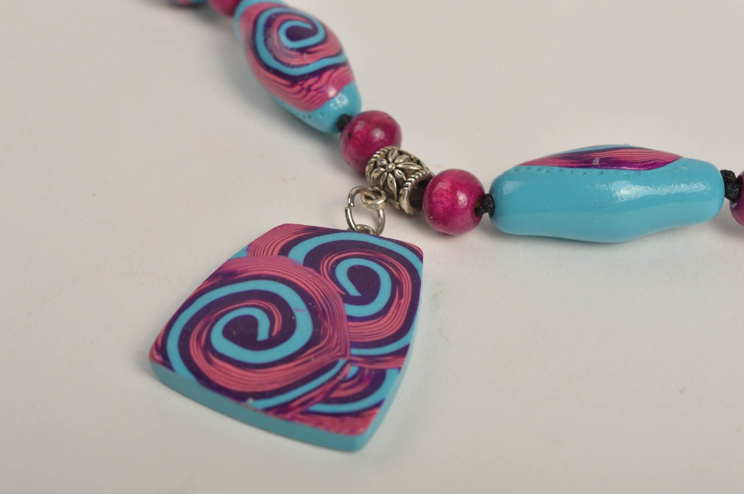 Polymer clay pendant exclusive jewelry handmade plastic jewelry designer jewelry photo 4