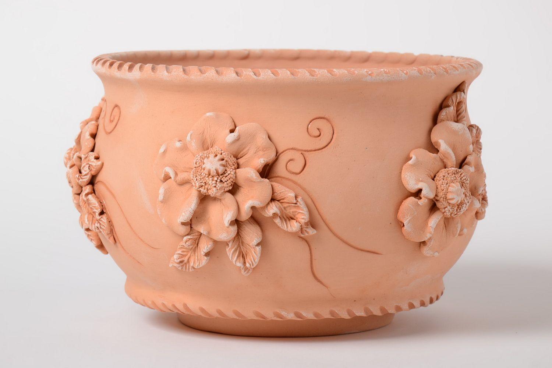 madeheart ton blumentopf 2 5 l mit loch keramik beh lter handarbeit originell sch n. Black Bedroom Furniture Sets. Home Design Ideas