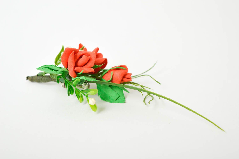 Handmade beautiful brooch unusual wedding boutonniere elegant accessory photo 5