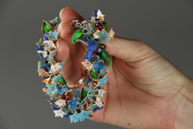 Браслет на руку из полимерной глины Цветочный фото 5