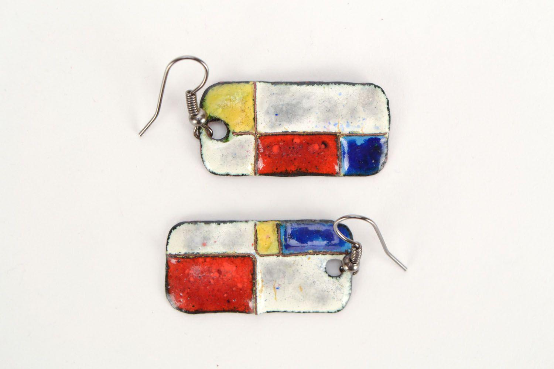 Copper earrings with geometric pattern photo 2