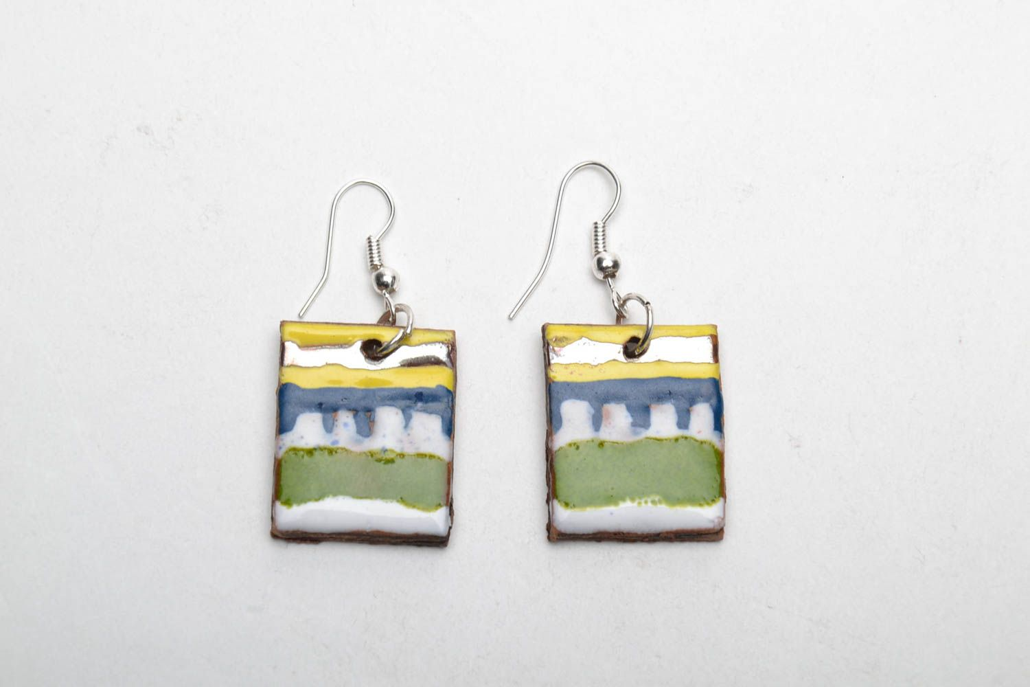 Square clay earrings photo 3