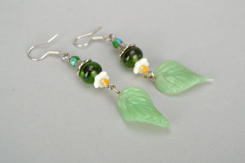 Lampwork glass earrings photo 4