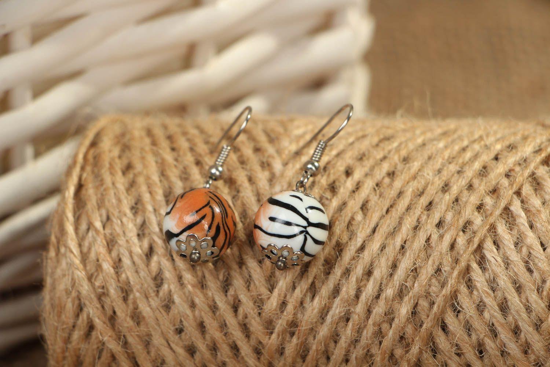 Handmade Ohrringe aus Polymerton Tiger  foto 4