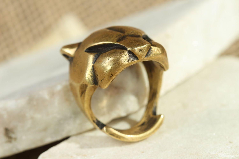 Бронзовое кольцо Пантера фото 2